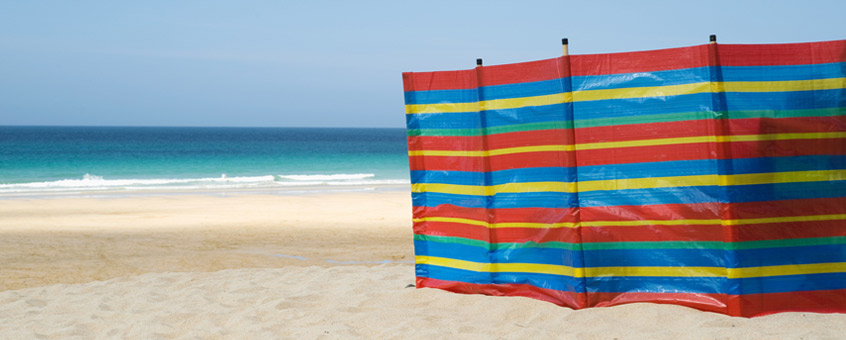 Beach with windbreak