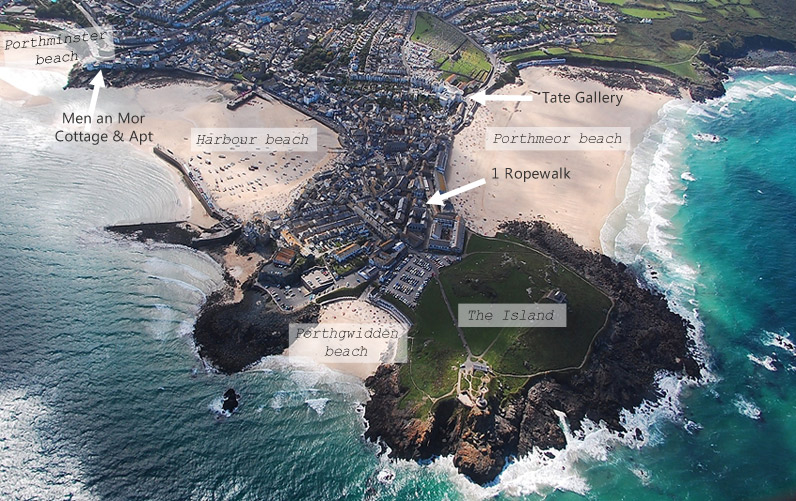 Aerial picture of St Ives and location of properties