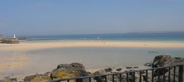 St Ives Studio balcony view across the beach